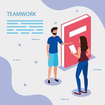Werk team paar met boek