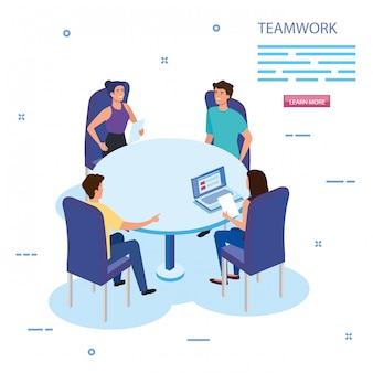Werk teamgroep bij het ontmoeten van avatar karakters