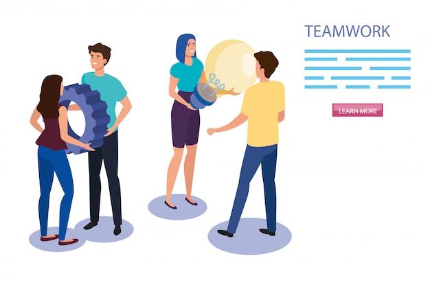 Werk teamgroep met uitrusting en gloeilamp