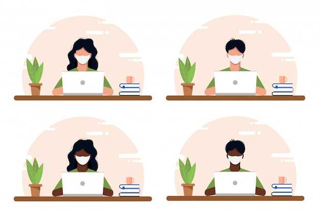 Werk thuis concept, coworking ruimte vlakke afbeelding. gemaskerde jongeren, mannen en vrouwen, freelancers die thuis werken. kantoor aan huis in crisis covid-19. vlakke stijl zelfstandige illustratie.