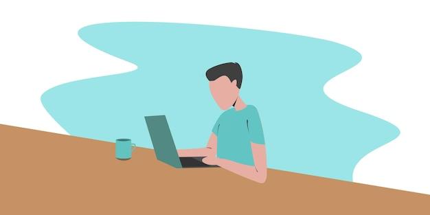 Werk thuis conceptontwerp. freelance man aan het werk op laptop in zijn huis, gekleed in huiskleding. vectorillustratie geïsoleerd op een witte achtergrond. online studeren, onderwijs