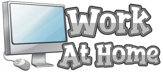 Werk thuis lettertype ontwerp op witte achtergrond