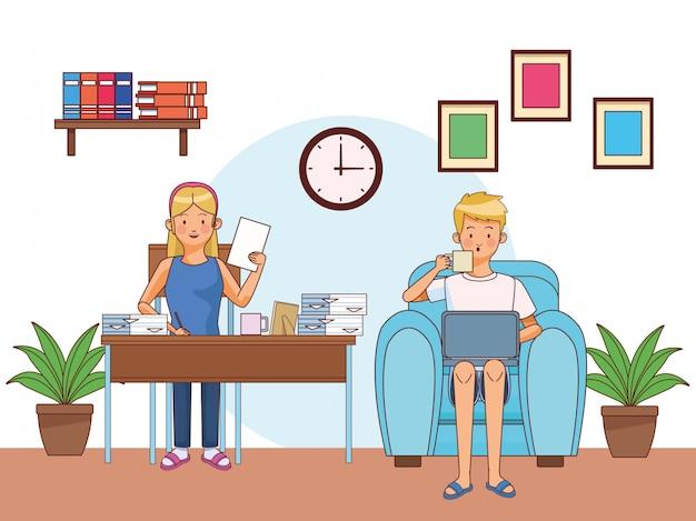 Werk thuis paar personages