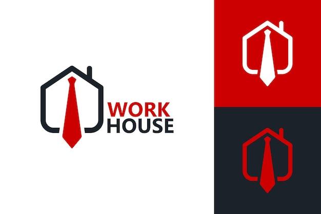 Werk thuis, stropdas en huis logo sjabloon premium vector