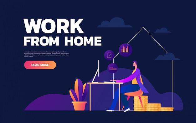 Werk thuis tijdens een uitbraak van het covid-19-virus. mensen werken thuis in quarantaine om een virale infectie te voorkomen. de mens werkt thuis aan laptop. vector illustratie vlakke stijl