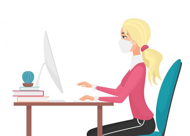 Werk thuis tijdens het covid-19-quarantainevirus om virale infectie te voorkomen. vooraanzicht van blonde jonge mooie vrouw die met het bureau van het computerhuis werkt. sociale afstand concept vlakke afbeelding