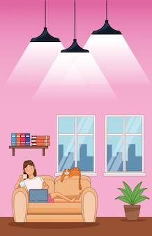 Werk thuis vrouw karakter