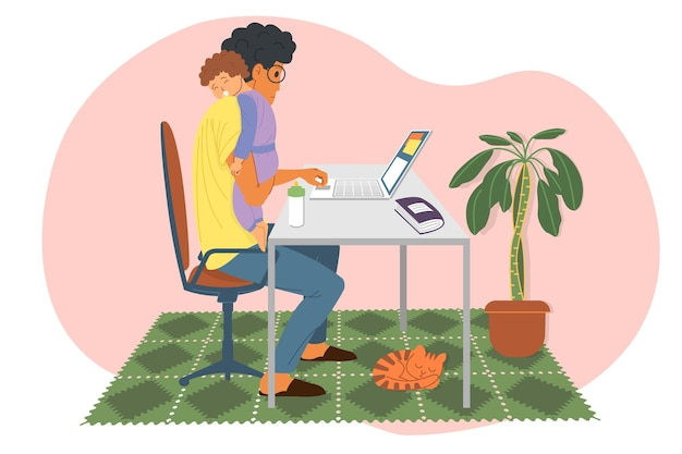 Werk thuis, webinar, online vergadering platte vectorillustratie. videoconferenties, sociale afstand, studie. een jonge man, hij is ook een vader, houdt een slapend kind in zijn armen en werkt op een laptop