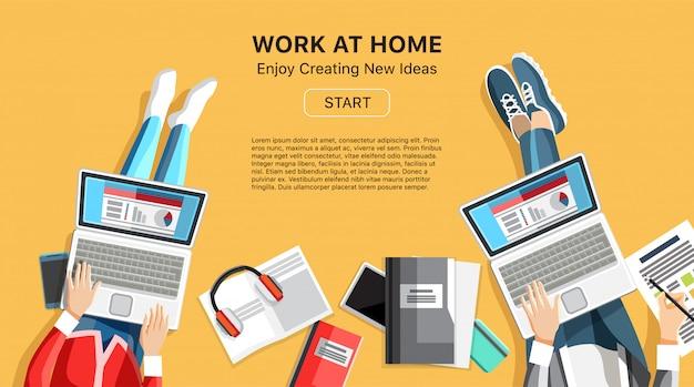 Werk thuis zakelijke banner met mensen