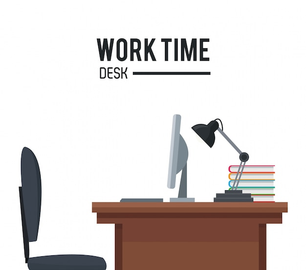 Werk tijd bureaustoel laptop lamp poster Premium Vector