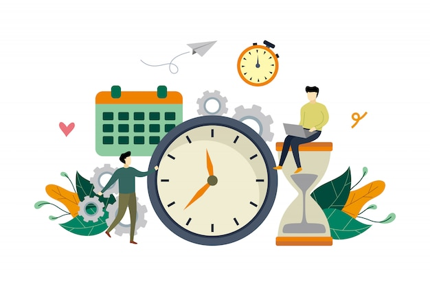 Werk tijdbeheer vlakke afbeelding met grote klok en kleine mensen