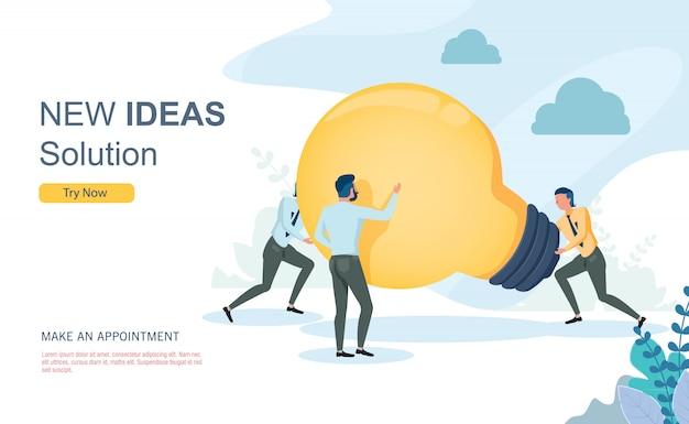 Werk van het bedrijfsidee het creatieve team met vlak ontwerpconcept