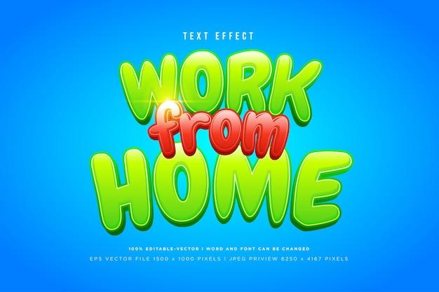 Werk vanuit huis 3d-teksteffect op blauwe achtergrond