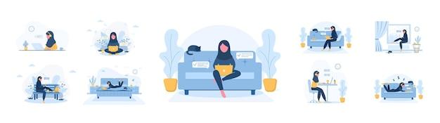 Werk vanuit huis. aantal vrouwen freelancer.