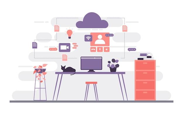 Werk vanuit huis computer internet online zaken freelancer