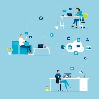 Werk vanuit huis concept en zakelijk slim online werken verbinding overal concept