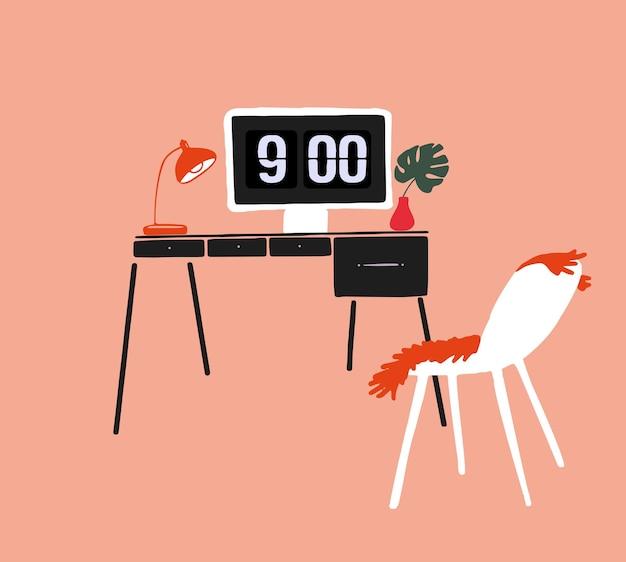 Werk vanuit huis concept illustratie desktopcomputer op tafel uit het midden van de eeuw gezellige werkplek