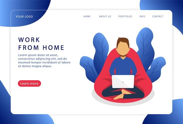 Werk vanuit huis. een man werkt op een laptop. freelancer. afstandswerk. moderne webpagina's voor websites.