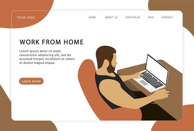 Werk vanuit huis. een man werkt thuis op een laptop. freelancer. moderne webpagina's voor websites.