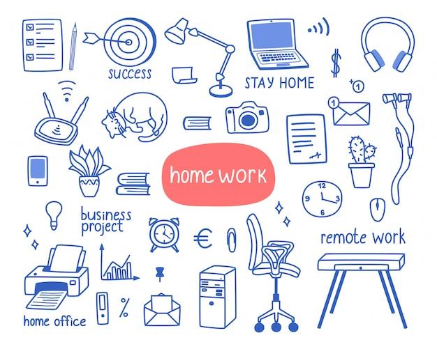 Werk vanuit huis een reeks objecten.