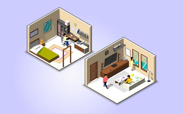 Werk vanuit huis en blijf veilig met foto van slaapkamer en werkset