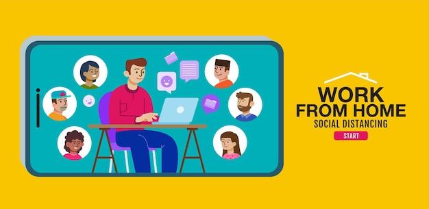 Werk vanuit huis en online vergadering platte ontwerp illustratie