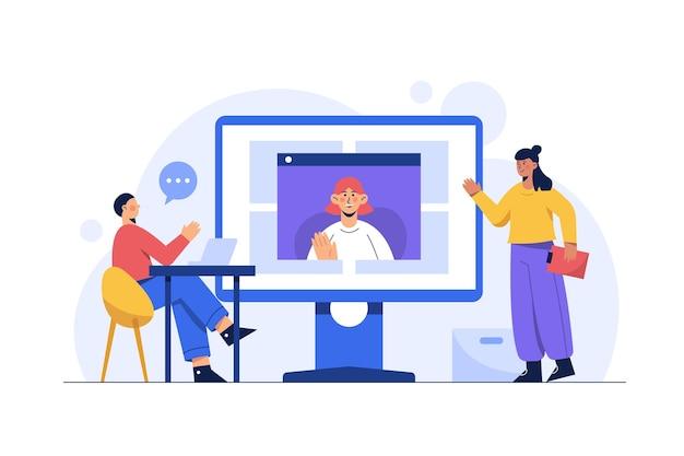 Werk vanuit huis en overal, videoconferentie, online vergadering, online vergaderen met teleconferentie en videoconferentie.