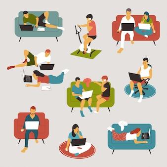 Werk vanuit huis, freelance en online baanconceptillustraties geplaatst die op achtergrond worden geïsoleerd.