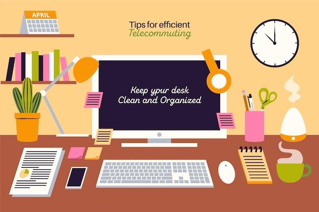 Werk vanuit huis op afstand om georganiseerd te blijven