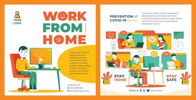Werk vanuit huis promotie feed instagram in platte ontwerpstijl