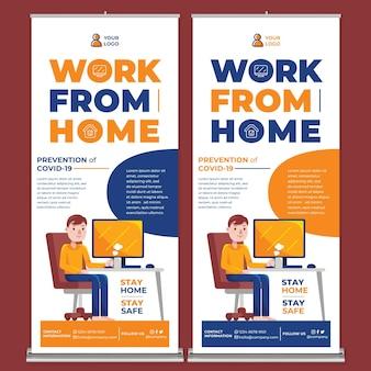 Werk vanuit huis promotie roll-up banner afdruksjabloon in platte ontwerpstijl