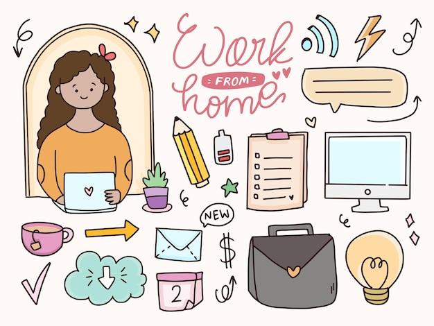 Werk vanuit huis sticker tekening doodle illustratie