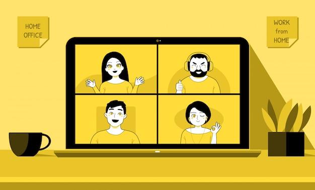 Werk vanuit huis, videoconferentiegesprek met team, mensen ontmoeten elkaar online met laptop