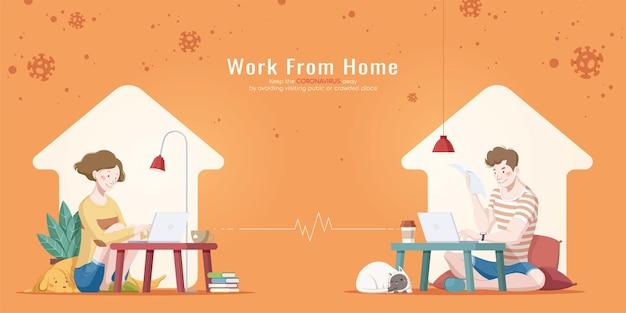 Werk vanuit huis vlakke afbeelding