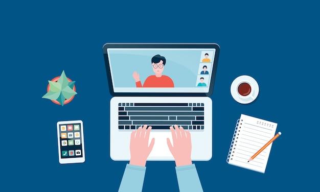 Werk vanuit huis werkplekconcept en zakelijk slim werken online overal verbinden concept