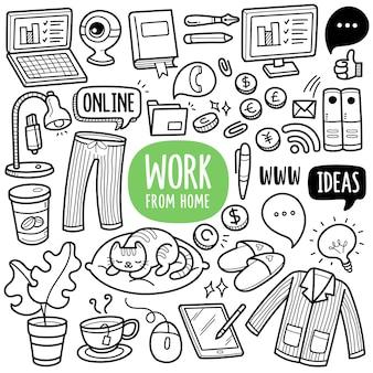 Werk vanuit huis zwart-wit doodle illustratie