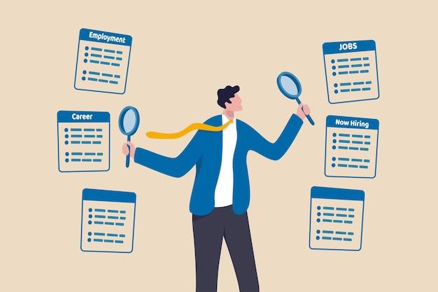 Werk zoeken, zoeken naar nieuwe carrière en kansen, op zoek naar werk en vacatureconcept