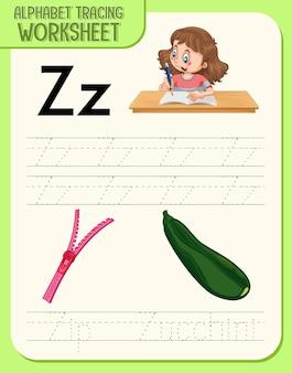 Werkblad alfabet overtrekken met letter z en z