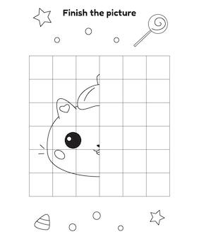 Werkblad halloween-activiteiten maak de afbeelding kat af