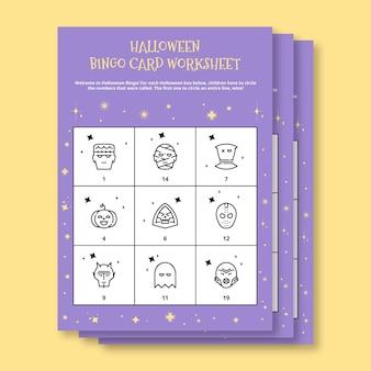 Werkblad met bingokaart voor halloween-kostuum
