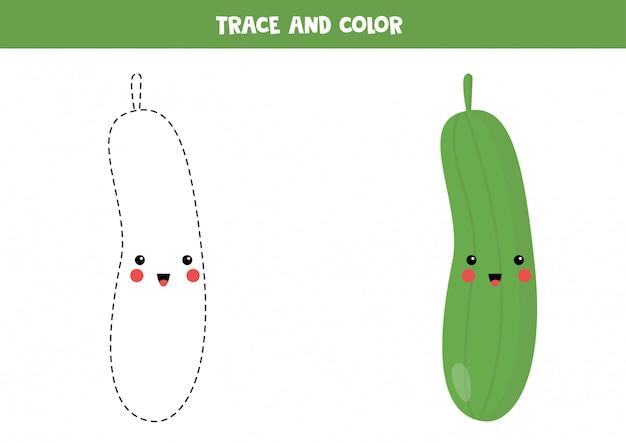Werkblad traceren voor kleuters. leuke kawaii komkommer.