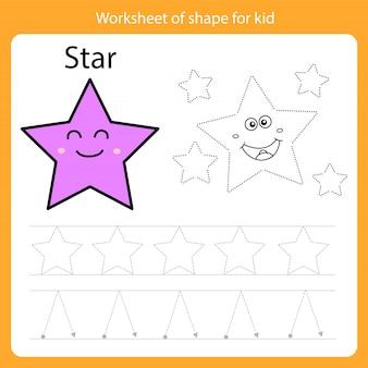 Werkblad van vorm voor kindster