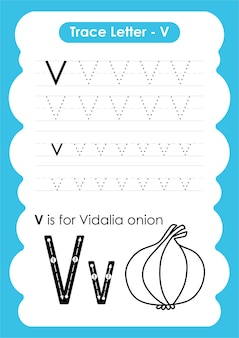 Werkblad voor alfabetten met woordenschat voor groenten en fruit