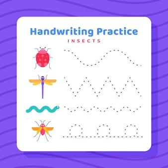 Werkblad voor handschriftoefening Premium Vector