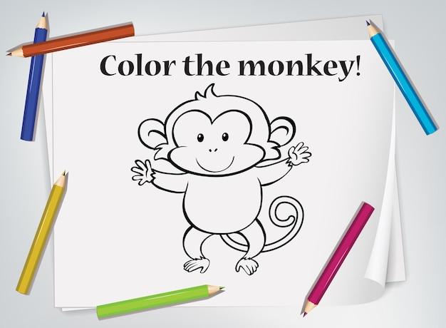 Werkblad voor het kleuren van aapjes voor kinderen