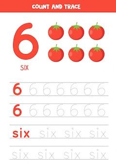 Werkblad voor het leren van cijfers en letters met cartoon tomaten. nummer zes.