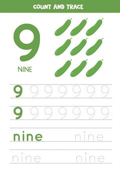 Werkblad voor het leren van cijfers en letters met cartoonkomkommers. nummer negen.