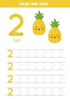 Werkblad voor het leren van cijfers met schattige ananas. nummer 2.