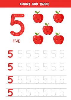Werkblad voor het leren van cijfers met schattige appels. nummer 5.