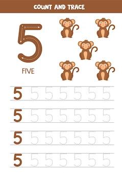 Werkblad voor het leren van cijfers met schattige olifanten. nummer 5.